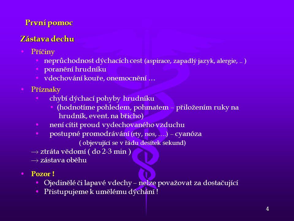 4 První pomoc Zástava dechu Příčiny neprůchodnost dýchacích cest (aspirace, zapadlý jazyk, alergie,.. ) poranění hrudníku vdechování kouře, onemocnění