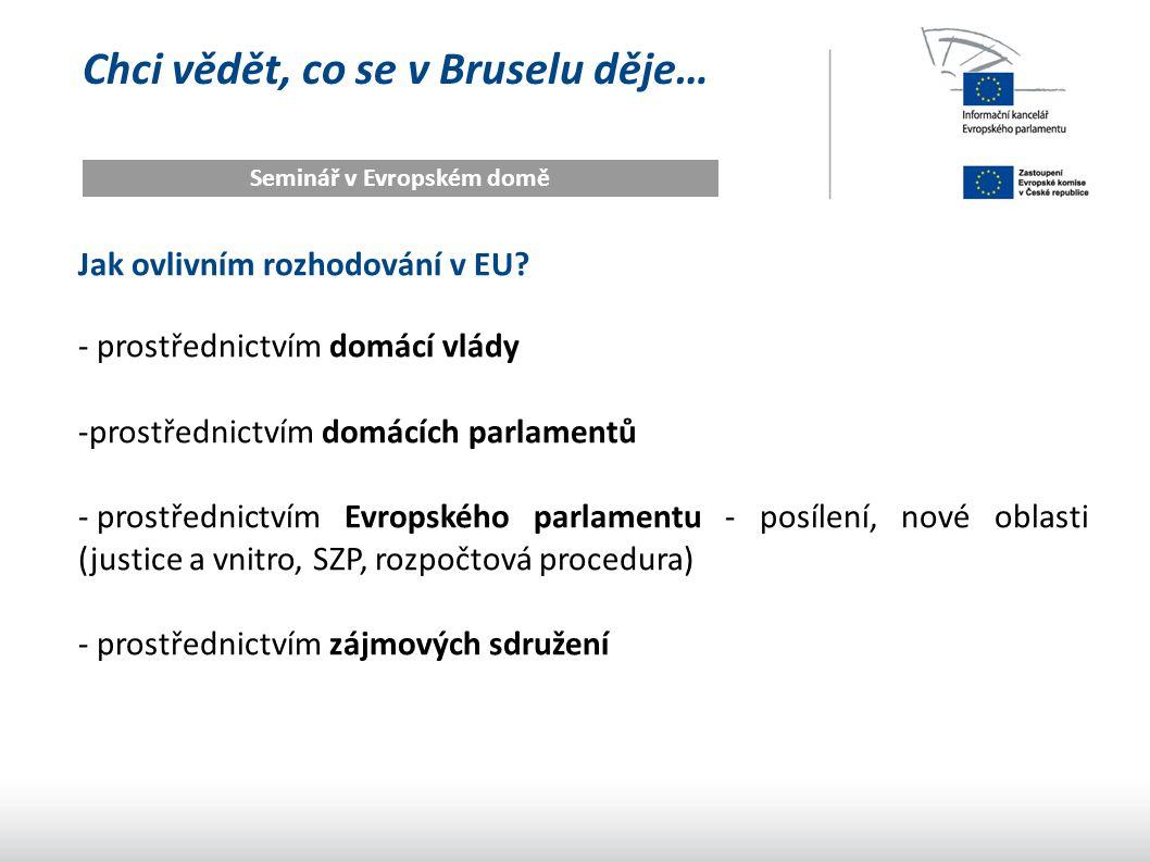 Chci vědět, co se v Bruselu děje… Seminář v Evropském domě Jak ovlivním rozhodování v EU? - prostřednictvím domácí vlády -prostřednictvím domácích par