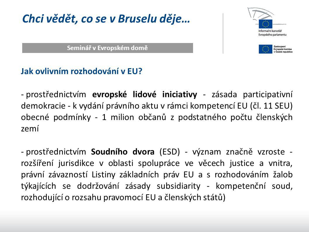 Chci vědět, co se v Bruselu děje… Seminář v Evropském domě Jak ovlivním rozhodování v EU? - prostřednictvím evropské lidové iniciativy - zásada partic