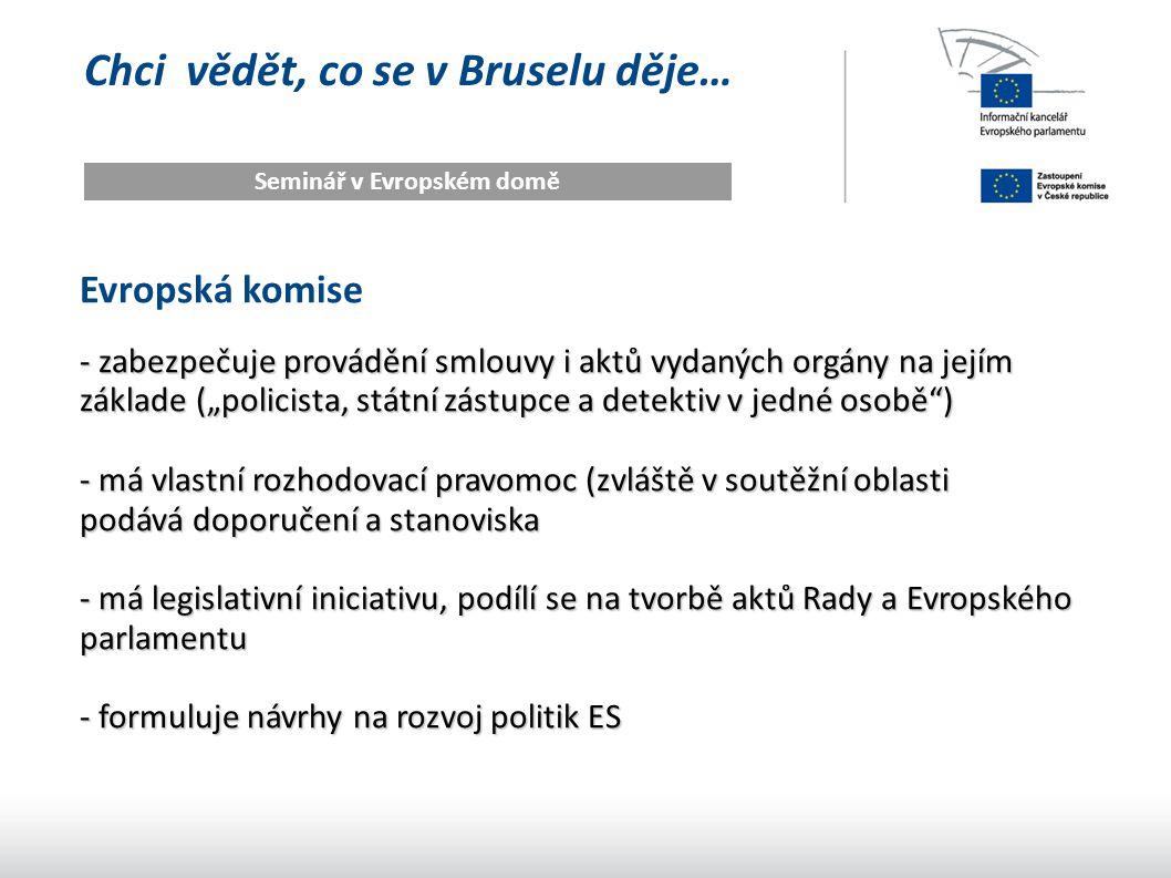 """Chci vědět, co se v Bruselu děje… Seminář v Evropském domě Evropská komise - zabezpečuje provádění smlouvy i aktů vydaných orgány na jejím základe (""""p"""