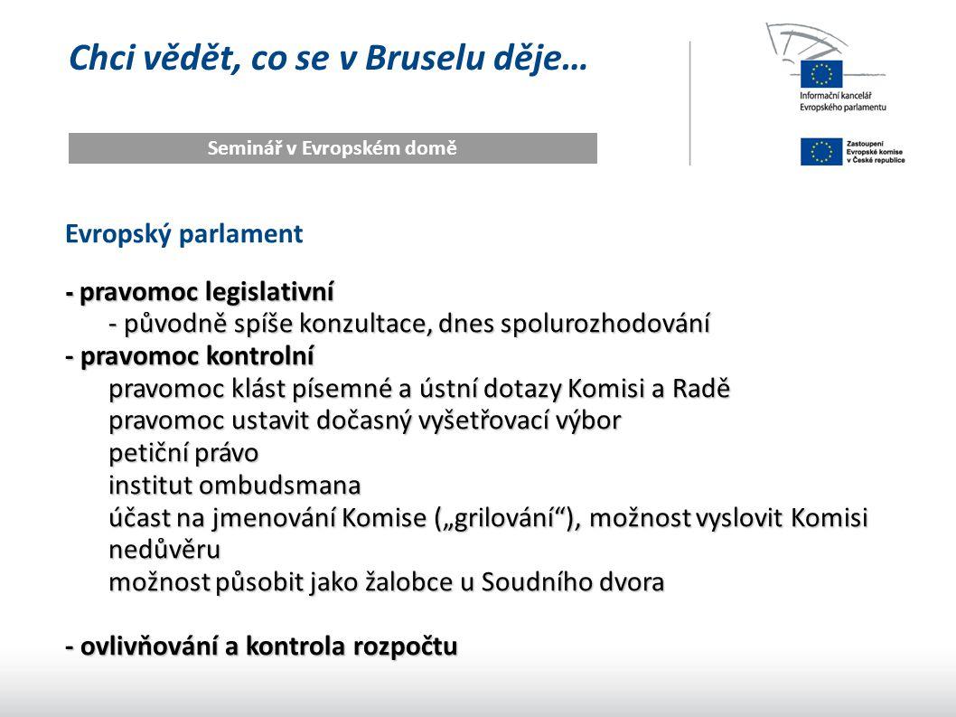 Chci vědět, co se v Bruselu děje… Seminář v Evropském domě Evropský parlament - pravomoc legislativní - původně spíše konzultace, dnes spolurozhodován