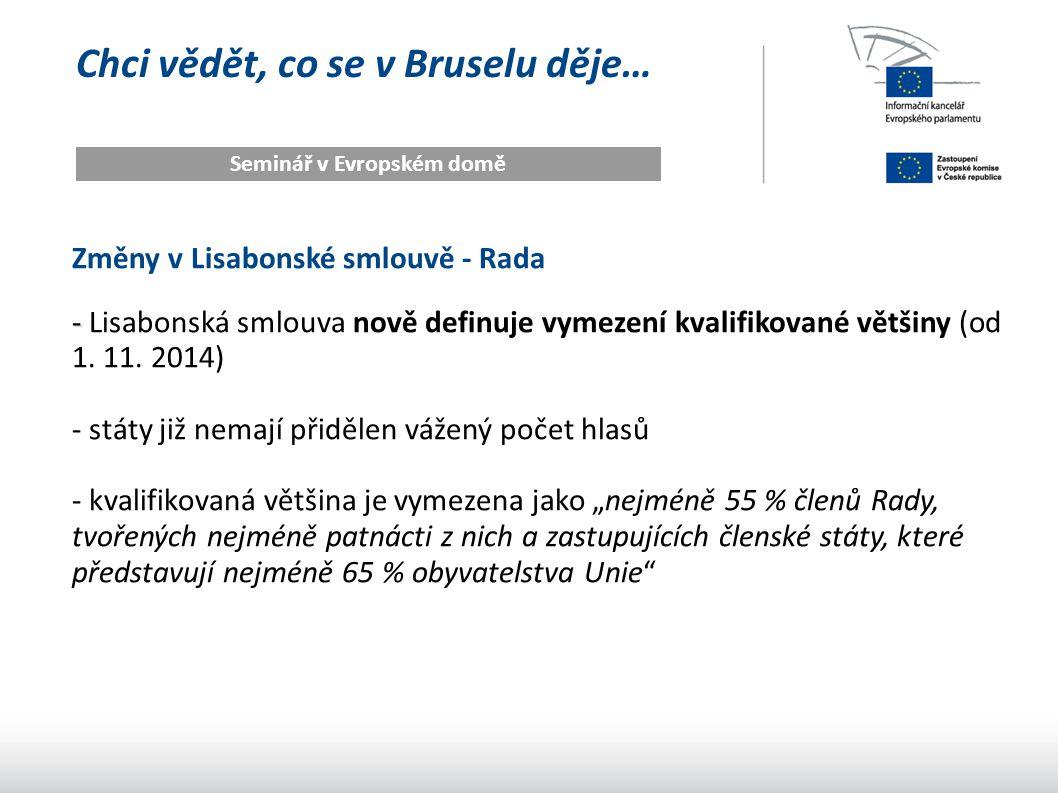 Chci vědět, co se v Bruselu děje… Seminář v Evropském domě Změny v Lisabonské smlouvě - Rada - - Lisabonská smlouva nově definuje vymezení kvalifikova