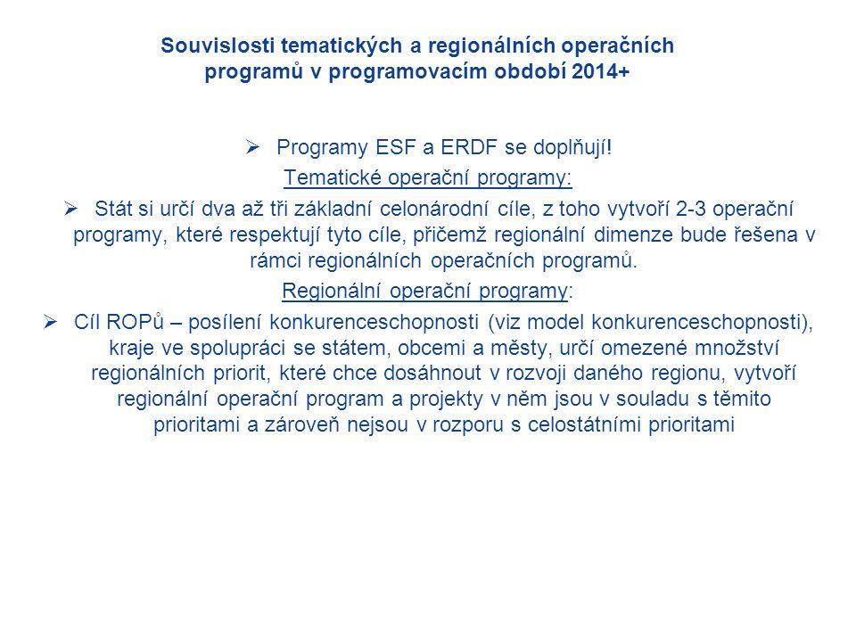 Souvislosti tematických a regionálních operačních programů v programovacím období 2014+  Programy ESF a ERDF se doplňují.