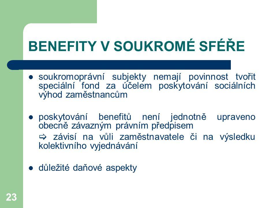 23 BENEFITY V SOUKROMÉ SFÉŘE soukromoprávní subjekty nemají povinnost tvořit speciální fond za účelem poskytování sociálních výhod zaměstnancům poskytování benefitů není jednotně upraveno obecně závazným právním předpisem  závisí na vůli zaměstnavatele či na výsledku kolektivního vyjednávání důležité daňové aspekty