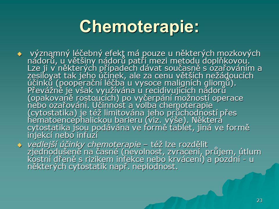 23 Chemoterapie:  významný léčebný efekt má pouze u některých mozkových nádorů, u většiny nádorů patří mezi metodu doplňkovou. Lze ji v některých pří