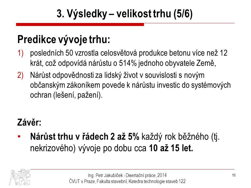 Ing. Petr Jakubíček - Disertační práce, 2014 ČVUT v Praze, Fakulta stavební, Katedra technologie staveb 122 16 Predikce vývoje trhu: 1)posledních 50 v
