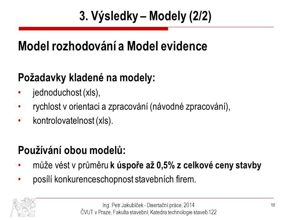 Ing. Petr Jakubíček - Disertační práce, 2014 ČVUT v Praze, Fakulta stavební, Katedra technologie staveb 122 19 Model rozhodování a Model evidence Poža