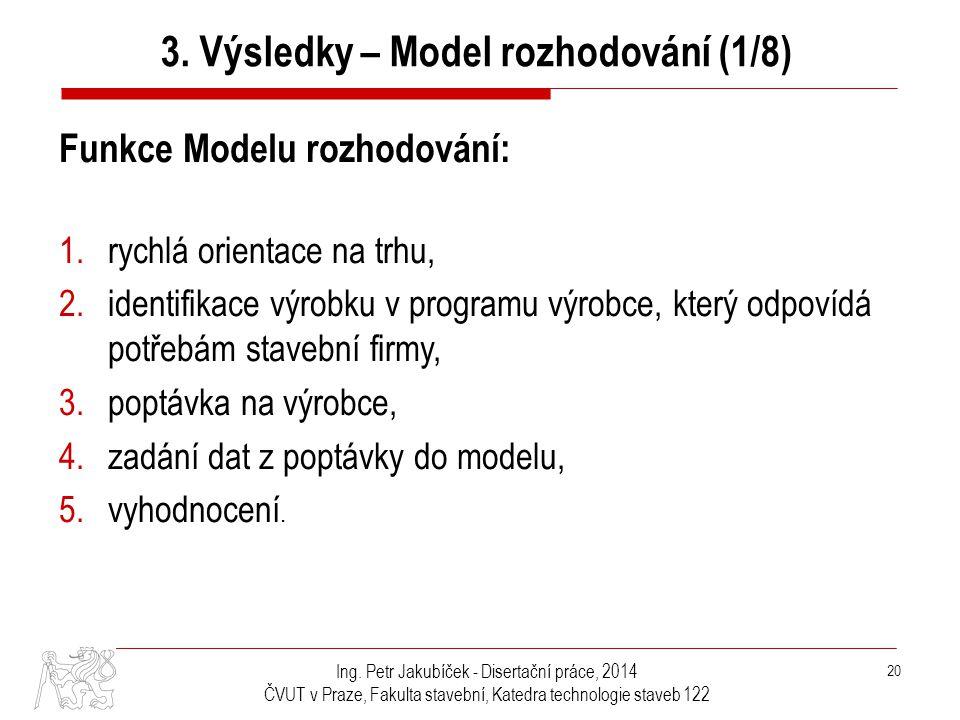 Ing. Petr Jakubíček - Disertační práce, 2014 ČVUT v Praze, Fakulta stavební, Katedra technologie staveb 122 20 Funkce Modelu rozhodování: 1.rychlá ori