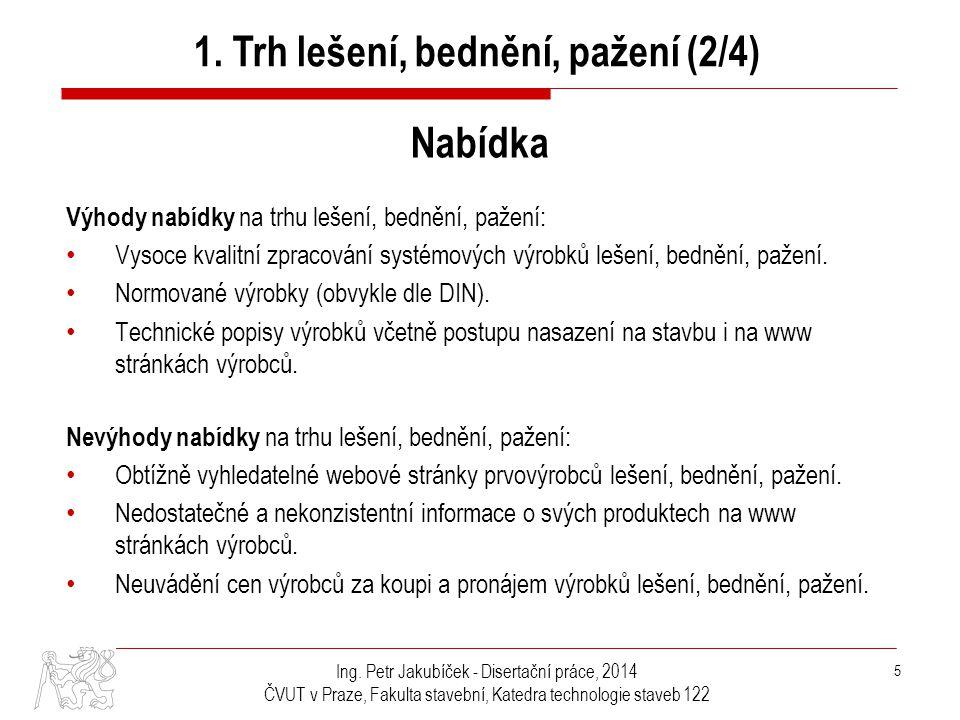 Ing. Petr Jakubíček - Disertační práce, 2014 ČVUT v Praze, Fakulta stavební, Katedra technologie staveb 122 5 1. Trh lešení, bednění, pažení (2/4) Nab