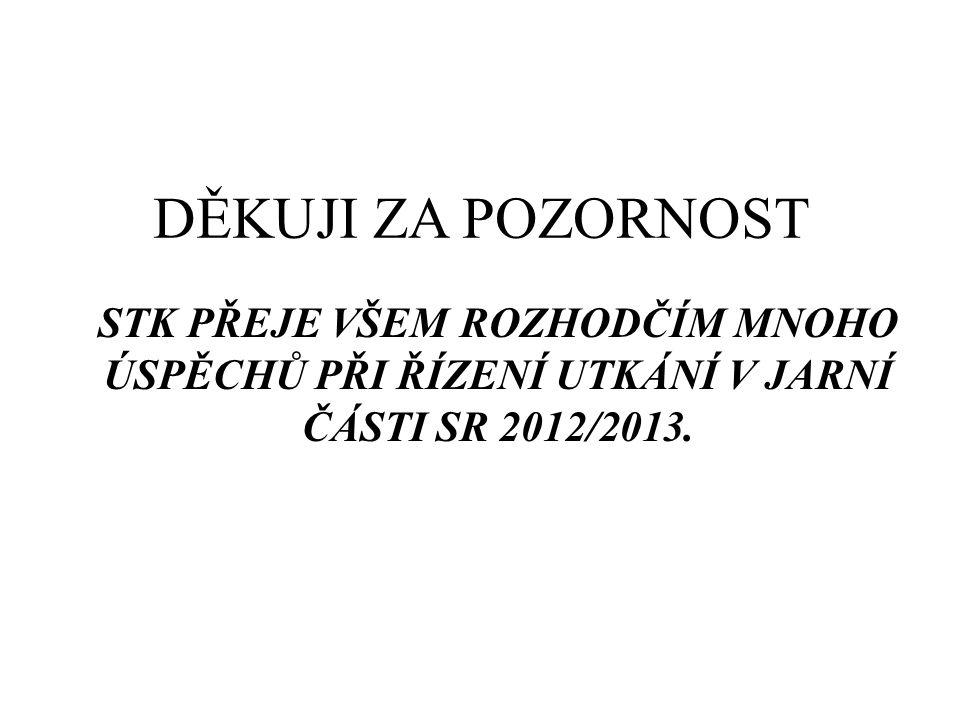 DĚKUJI ZA POZORNOST STK PŘEJE VŠEM ROZHODČÍM MNOHO ÚSPĚCHŮ PŘI ŘÍZENÍ UTKÁNÍ V JARNÍ ČÁSTI SR 2012/2013.