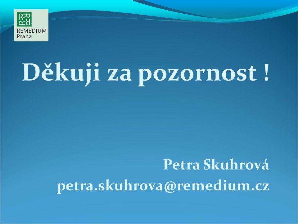 Děkuji za pozornost ! Petra Skuhrová petra.skuhrova@remedium.cz