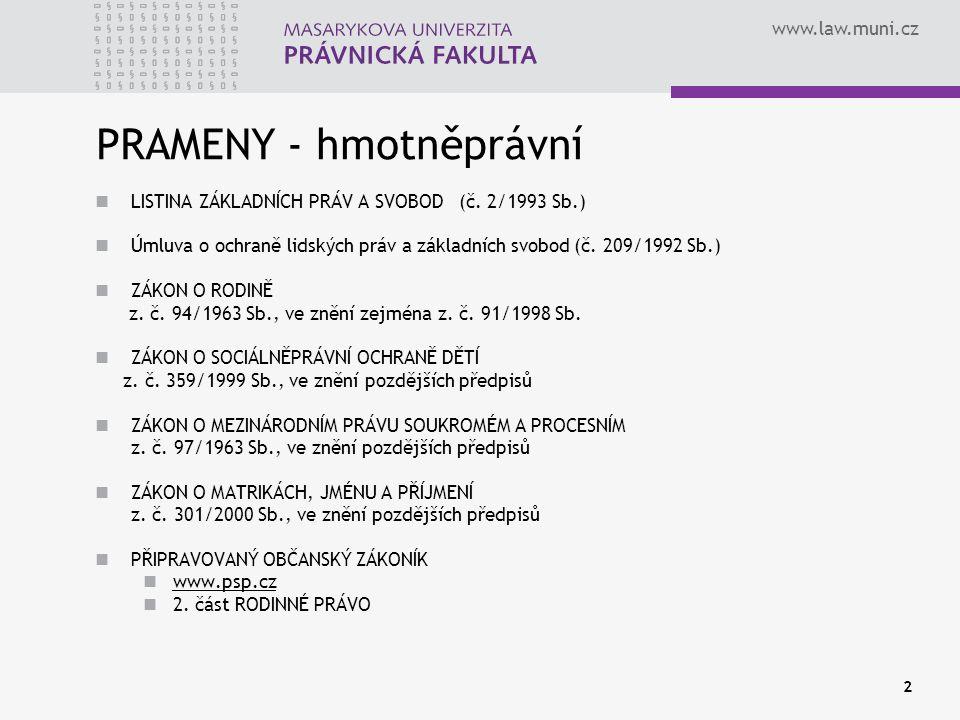 www.law.muni.cz 2 PRAMENY - hmotněprávní LISTINA ZÁKLADNÍCH PRÁV A SVOBOD (č. 2/1993 Sb.) Úmluva o ochraně lidských práv a základních svobod (č. 209/1