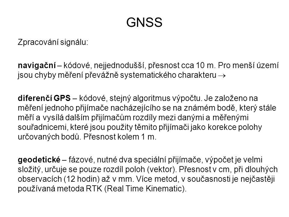GNSS Zpracování signálu: navigační – kódové, nejjednodušší, přesnost cca 10 m. Pro menší území jsou chyby měření převážně systematického charakteru 