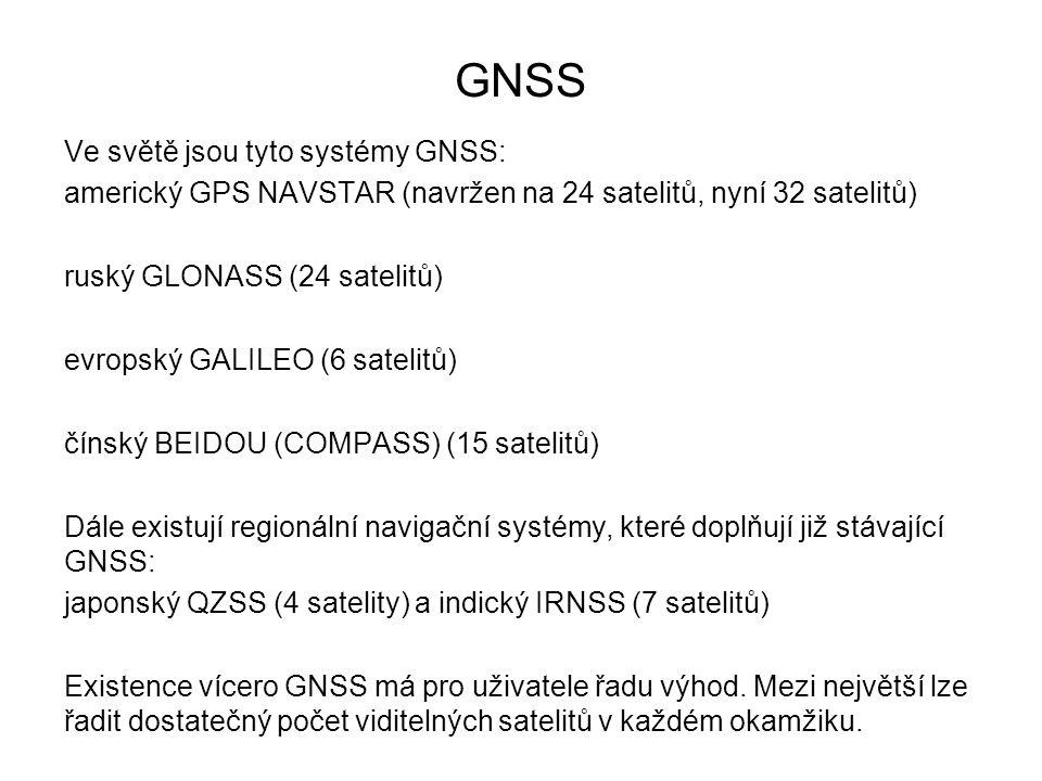 GNSS Ve světě jsou tyto systémy GNSS: americký GPS NAVSTAR (navržen na 24 satelitů, nyní 32 satelitů) ruský GLONASS (24 satelitů) evropský GALILEO (6