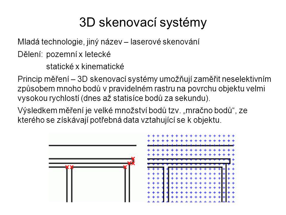 3D skenovací systémy Mladá technologie, jiný název – laserové skenování Dělení: pozemní x letecké statické x kinematické Princip měření – 3D skenovací