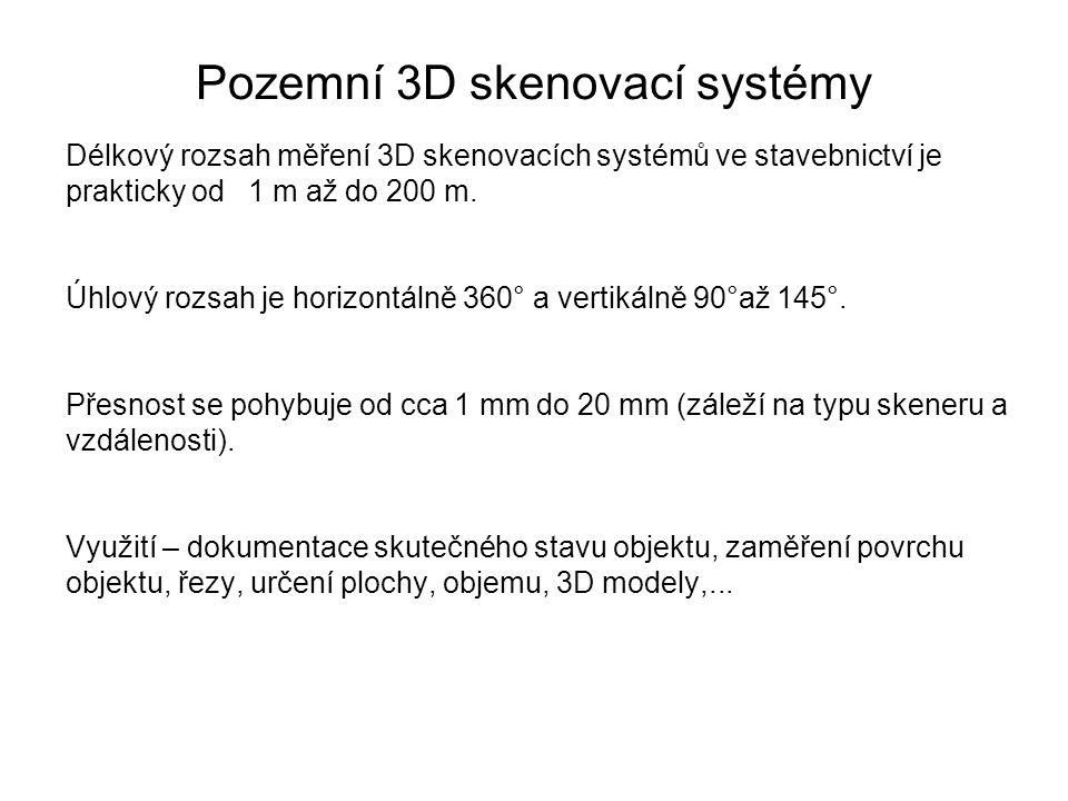 Pozemní 3D skenovací systémy Délkový rozsah měření 3D skenovacích systémů ve stavebnictví je prakticky od 1 m až do 200 m. Úhlový rozsah je horizontál
