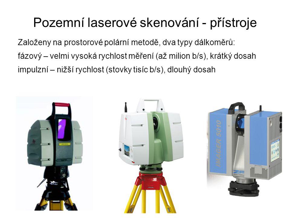 Pozemní laserové skenování - přístroje Založeny na prostorové polární metodě, dva typy dálkoměrů: fázový – velmi vysoká rychlost měření (až milion b/s