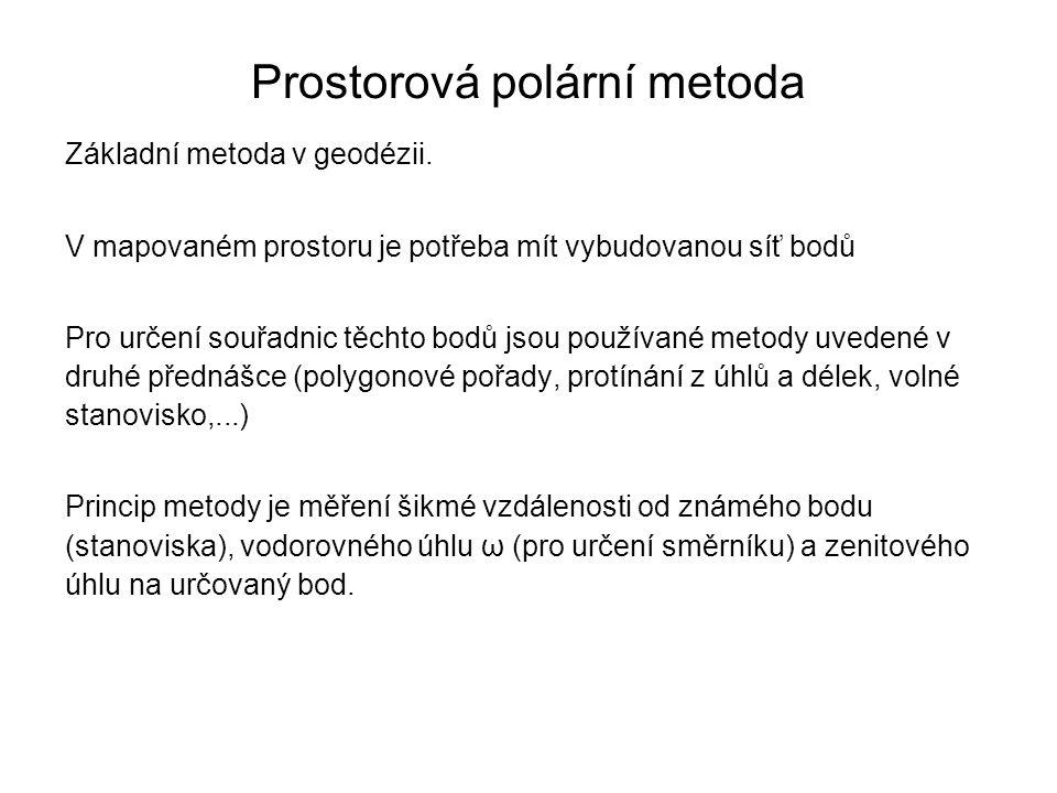 Prostorová polární metoda Základní metoda v geodézii. V mapovaném prostoru je potřeba mít vybudovanou síť bodů Pro určení souřadnic těchto bodů jsou p