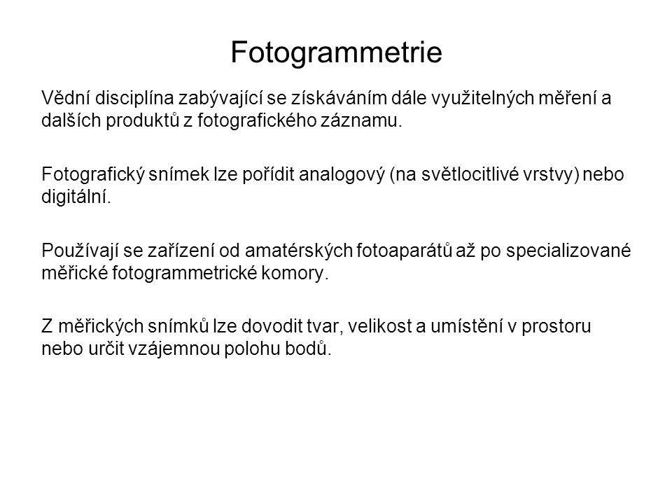 Fotogrammetrie Vědní disciplína zabývající se získáváním dále využitelných měření a dalších produktů z fotografického záznamu. Fotografický snímek lze