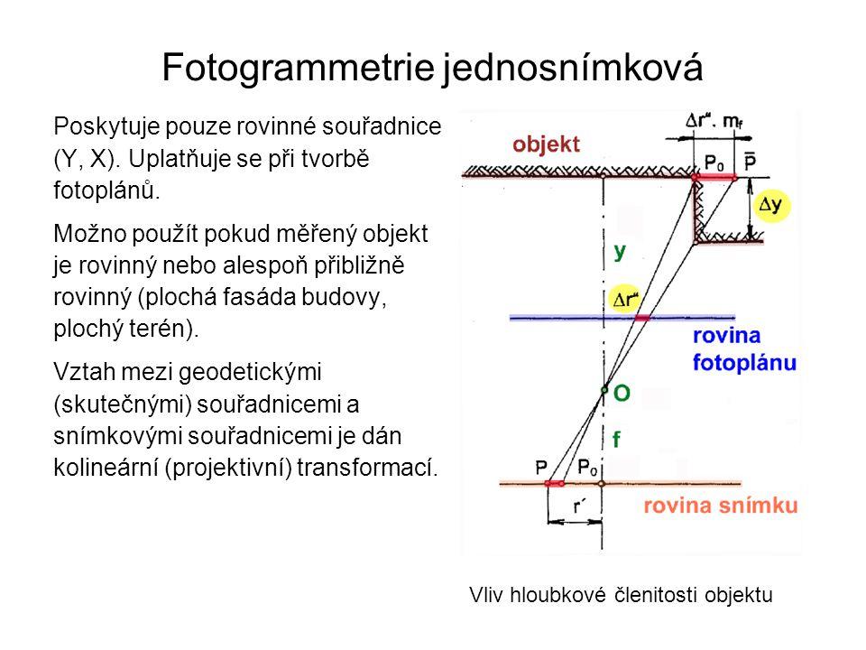 Fotogrammetrie jednosnímková Poskytuje pouze rovinné souřadnice (Y, X). Uplatňuje se při tvorbě fotoplánů. Možno použít pokud měřený objekt je rovinný