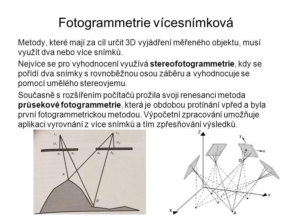 Fotogrammetrie vícesnímková Metody, které mají za cíl určit 3D vyjádření měřeného objektu, musí využít dva nebo více snímků. Nejvíce se pro vyhodnocen