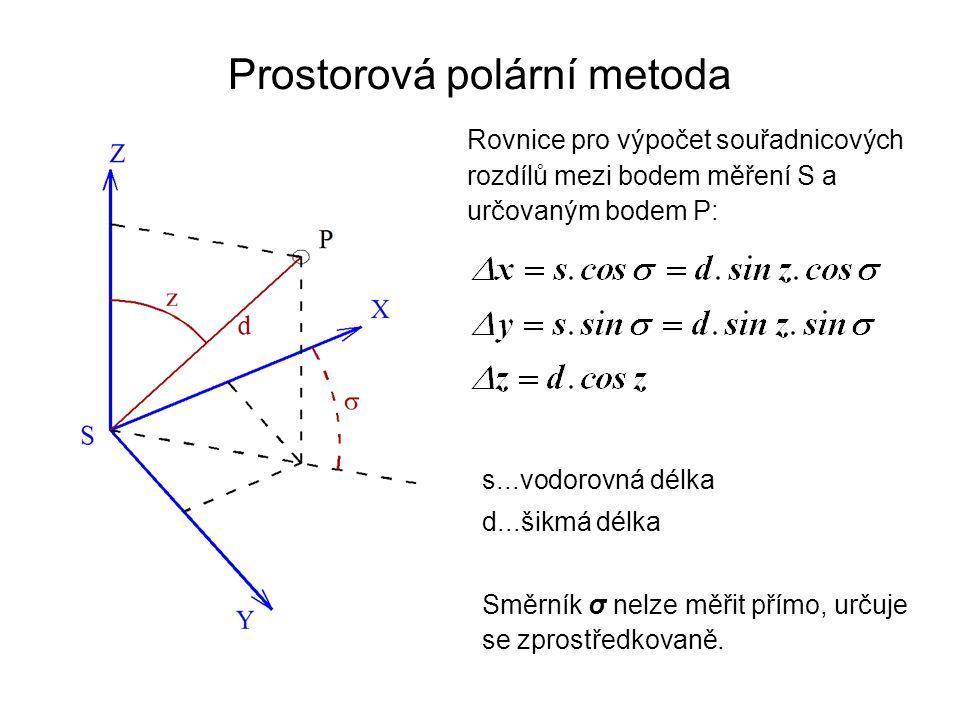 Prostorová polární metoda Rovnice pro výpočet souřadnicových rozdílů mezi bodem měření S a určovaným bodem P: s...vodorovná délka d...šikmá délka Směr