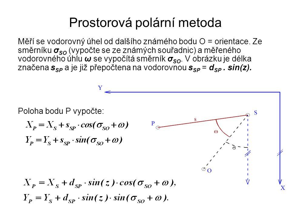 Prostorová polární metoda Měří se vodorovný úhel od dalšího známého bodu O = orientace. Ze směrníku σ SO (vypočte se ze známých souřadnic) a měřeného