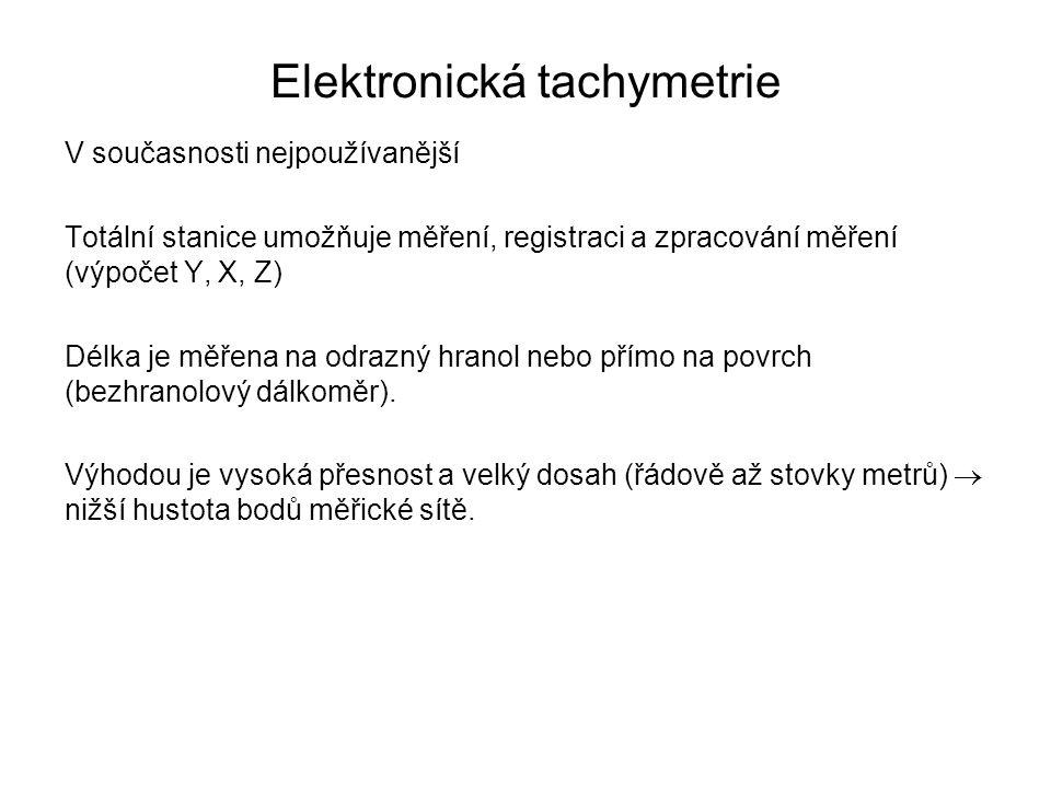 Elektronická tachymetrie V současnosti nejpoužívanější Totální stanice umožňuje měření, registraci a zpracování měření (výpočet Y, X, Z) Délka je měře