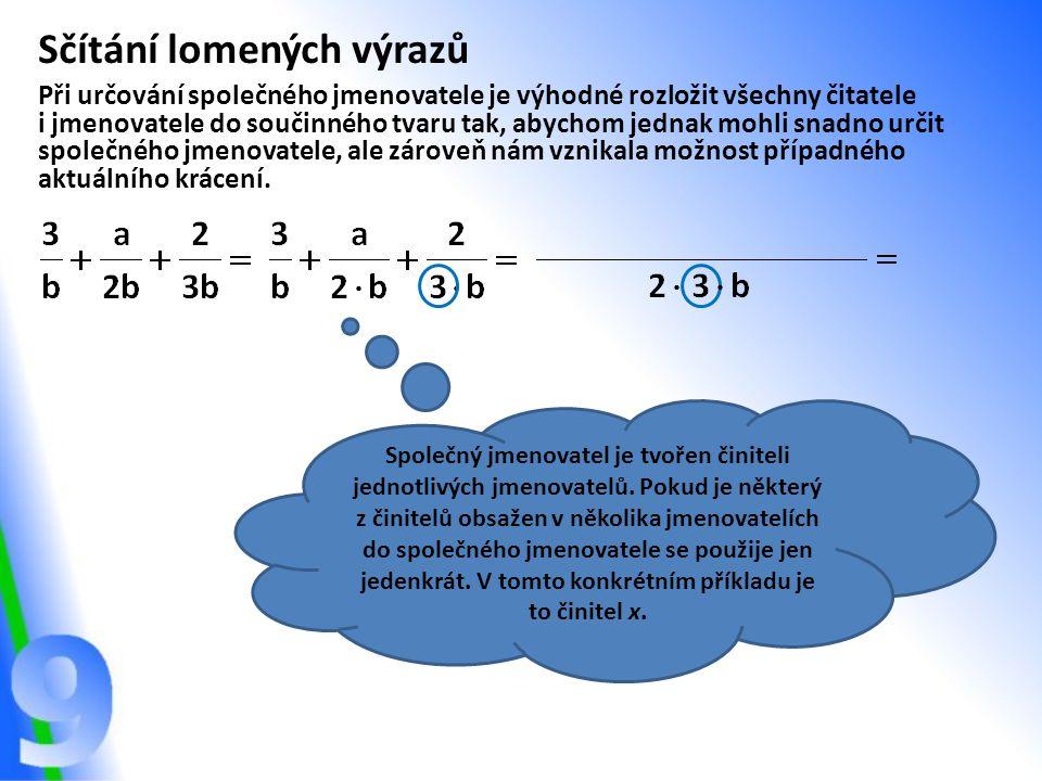 Sčítání lomených výrazů Při určování společného jmenovatele je výhodné rozložit všechny čitatele i jmenovatele do součinného tvaru tak, abychom jednak
