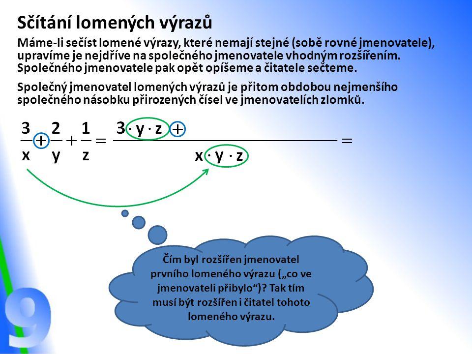 Sčítání lomených výrazů Máme-li sečíst lomené výrazy, které nemají stejné (sobě rovné jmenovatele), upravíme je nejdříve na společného jmenovatele vhodným rozšířením.