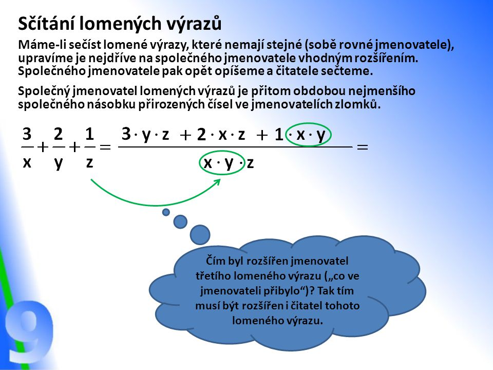 Sčítání lomených výrazů Máme-li sečíst lomené výrazy, které nemají stejné (sobě rovné jmenovatele), upravíme je nejdříve na společného jmenovatele vho