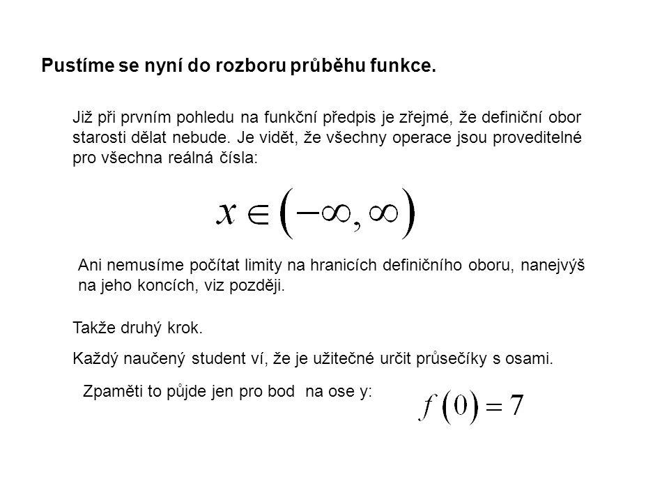 Pro průsečíky s osou x dostaneme k řešení kubickou rovnici.