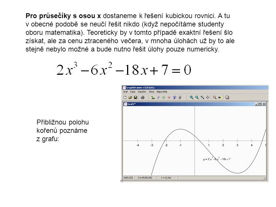 Pro průsečíky s osou x dostaneme k řešení kubickou rovnici. A tu v obecné podobě se neučí řešit nikdo (když nepočítáme studenty oboru matematika). Teo
