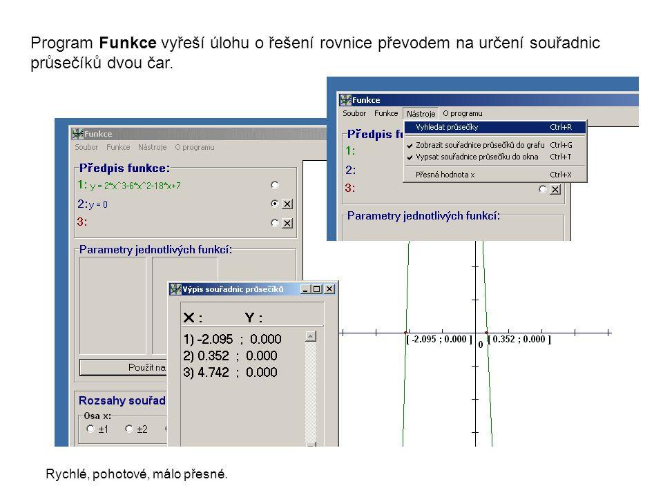 Program Funkce vyřeší úlohu o řešení rovnice převodem na určení souřadnic průsečíků dvou čar. Rychlé, pohotové, málo přesné.