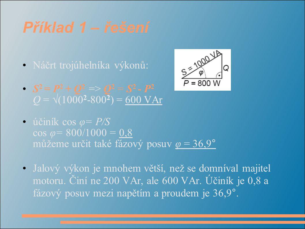 Příklad 1 – řešení Náčrt trojúhelníka výkonů: S 2 = P 2 + Q 2 => Q 2 = S 2 - P 2 Q = √(1000 2 -800 2 ) = 600 VAr účiník cos φ= P/S cos φ= 800/1000 = 0
