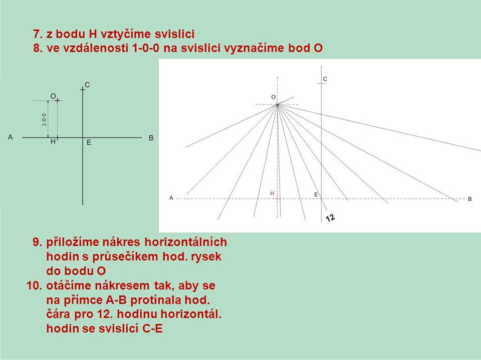 7. z bodu H vztyčíme svislici 8. ve vzdálenosti 1-0-0 na svislici vyznačíme bod O 9. přiložíme nákres horizontálních hodin s průsečíkem hod. rysek do