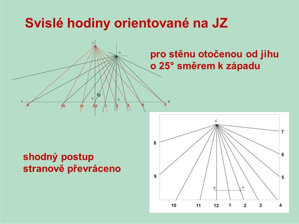 Svislé hodiny orientované na JZ shodný postup stranově převráceno pro stěnu otočenou od jihu o 25° směrem k západu