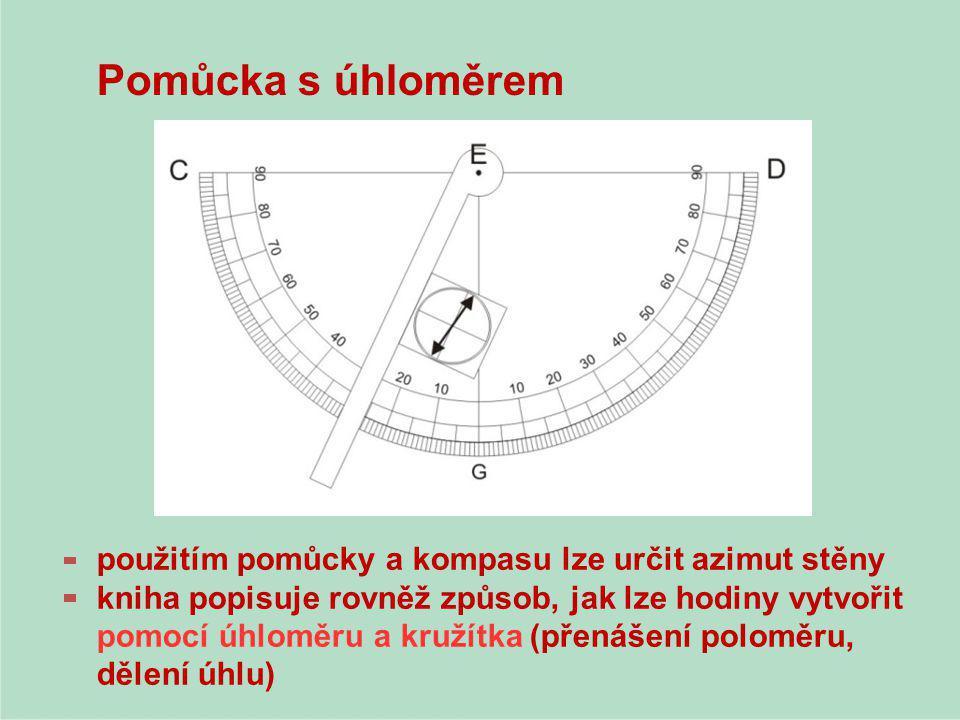 Pomůcka s úhloměrem použitím pomůcky a kompasu lze určit azimut stěny kniha popisuje rovněž způsob, jak lze hodiny vytvořit pomocí úhloměru a kružítka