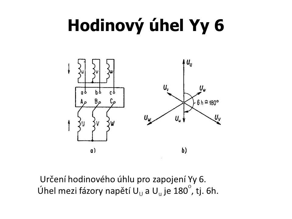 Hodinový úhel Yy 6 Určení hodinového úhlu pro zapojení Yy 6. Úhel mezi fázory napětí U U a U u je 180 o, tj. 6h.