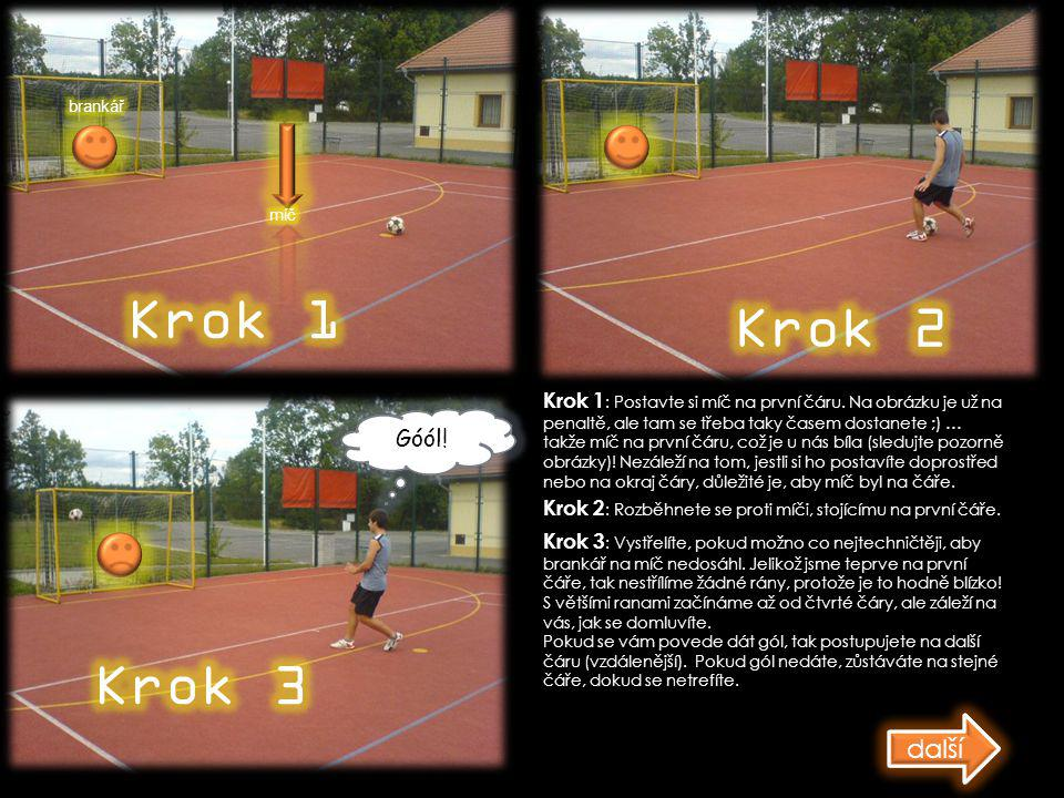 Krok 1 : Postavte si míč na první čáru. Na obrázku je už na penaltě, ale tam se třeba taky časem dostanete ;) … takže míč na první čáru, což je u nás