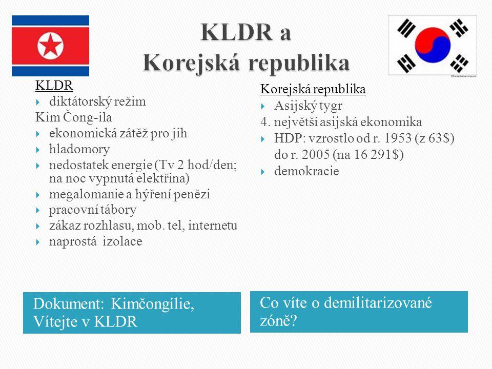 Dokument: Kimčongílie, Vítejte v KLDR Co víte o demilitarizované zóně? KLDR  diktátorský režim Kim Čong-ila  ekonomická zátěž pro jih  hladomory 