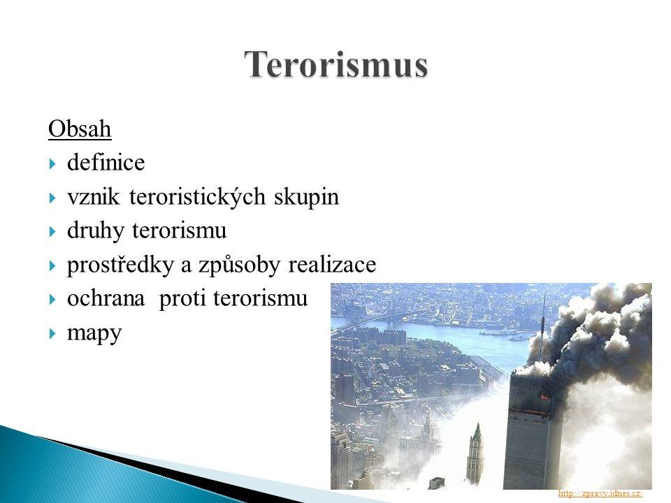  terorismus: je plánované, promyšlené a politicky motivované násilí, zaměřené proti nezúčastněným osobám, sloužící k dosažení vytčených cílů  konvenční válka: válka, která má většinou určitý právní rámec a zúčastněné strany respektují určitá pravidla jako zacházení se zajatci, používané zbraně, označení aktivních stran, vymezení role civilního obyvatelstva  guerilla: neboli partyzánský boj, (drobná válka či záškodnická válka) je forma vedení ozbrojeného konfliktu, která se vyhýbá velkým a rozhodujícím bitvám a soustředí se na drobné dílčí přepadové akce