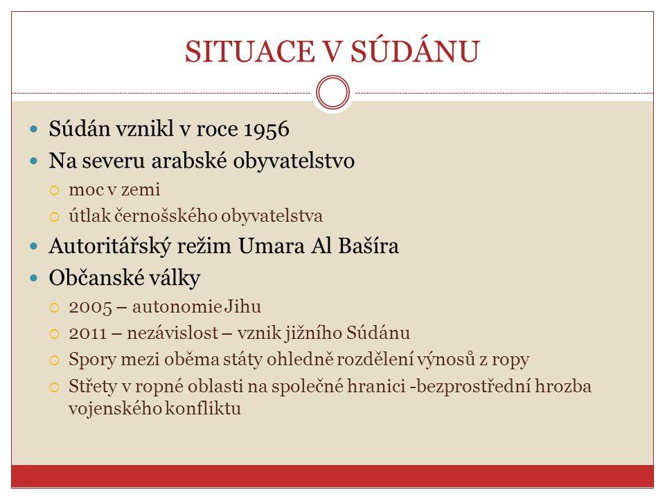 SITUACE V SÚDÁNU Súdán vznikl v roce 1956 Na severu arabské obyvatelstvo  moc v zemi  útlak černošského obyvatelstva Autoritářský režim Umara Al Baš