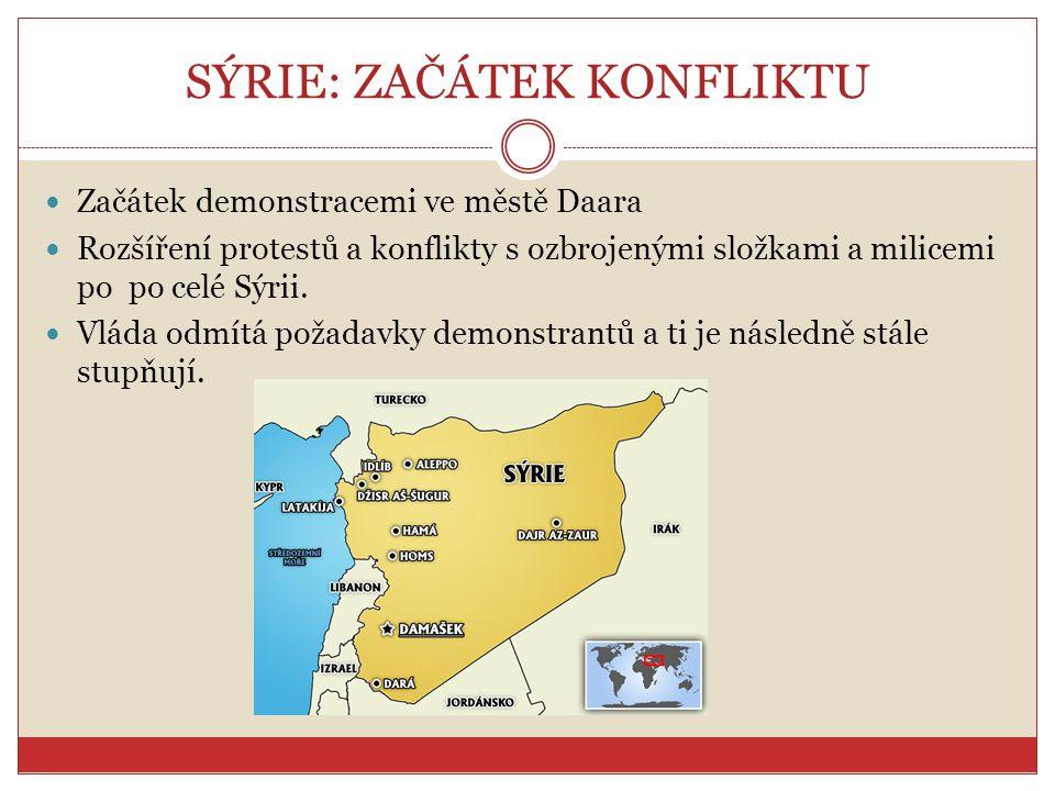 SÝRIE: ZAČÁTEK KONFLIKTU Začátek demonstracemi ve městě Daara Rozšíření protestů a konflikty s ozbrojenými složkami a milicemi po po celé Sýrii. Vláda