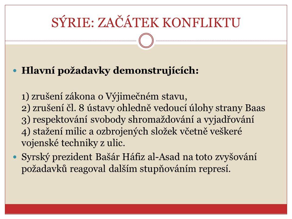 SÝRIE: ZAČÁTEK KONFLIKTU Hlavní požadavky demonstrujících: 1) zrušení zákona o Výjimečném stavu, 2) zrušení čl. 8 ústavy ohledně vedoucí úlohy strany