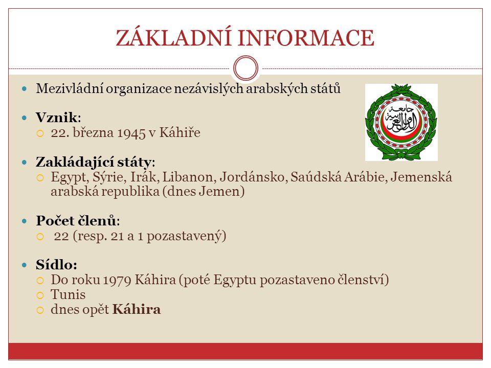 ZÁKLADNÍ INFORMACE Mezivládní organizace nezávislých arabských států Vznik:  22. března 1945 v Káhiře Zakládající státy:  Egypt, Sýrie, Irák, Libano