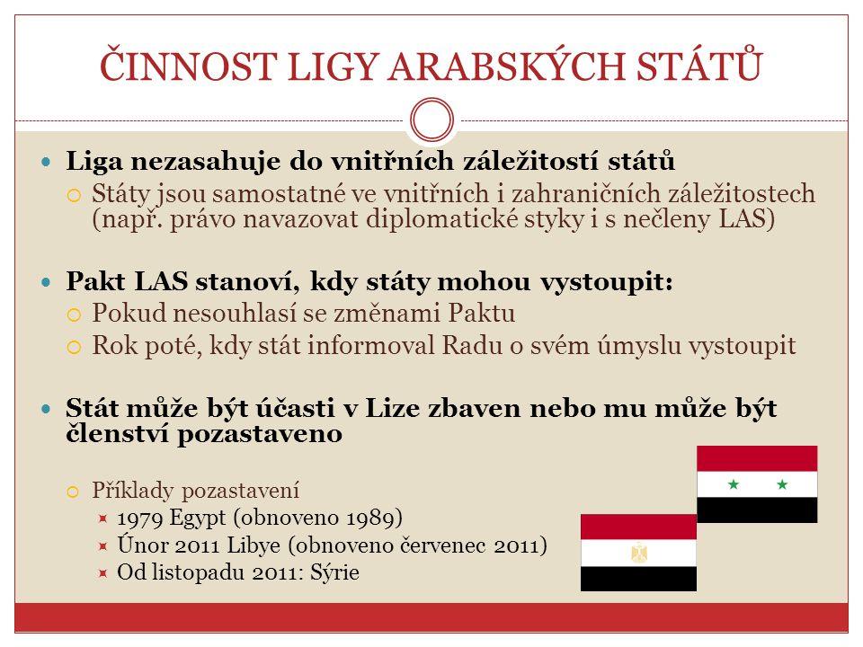 ČINNOST LIGY ARABSKÝCH STÁTŮ Liga nezasahuje do vnitřních záležitostí států  Státy jsou samostatné ve vnitřních i zahraničních záležitostech (např. p