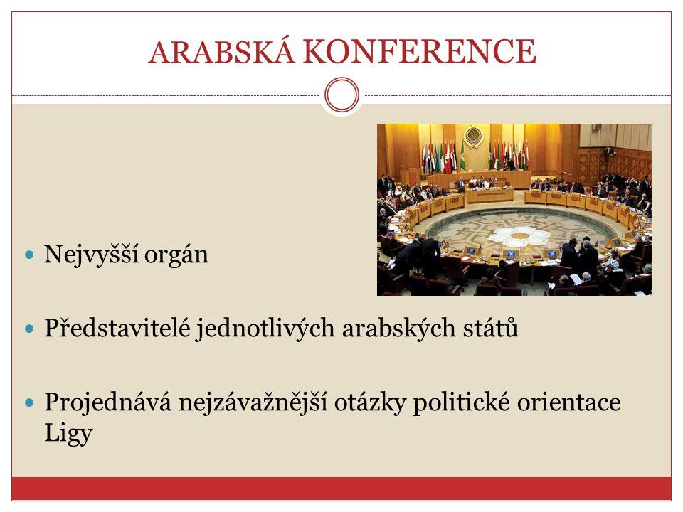 ARABSKÁ KONFERENCE Nejvyšší orgán Představitelé jednotlivých arabských států Projednává nejzávažnější otázky politické orientace Ligy
