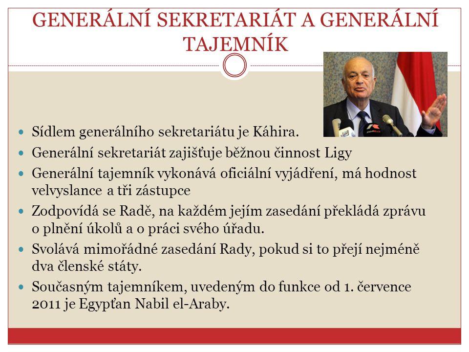 GENERÁLNÍ SEKRETARIÁT A GENERÁLNÍ TAJEMNÍK Sídlem generálního sekretariátu je Káhira. Generální sekretariát zajišťuje běžnou činnost Ligy Generální ta