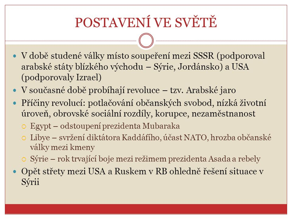 POSTAVENÍ VE SVĚTĚ V době studené války místo soupeření mezi SSSR (podporoval arabské státy blízkého východu – Sýrie, Jordánsko) a USA (podporovaly Iz